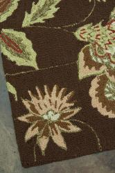 Hand-hooked Freya Chocolate Brown Rug (7' x 9') - Thumbnail 2