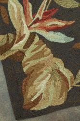 Hand-hooked Freya Dark Brown Rug (7' x 9')