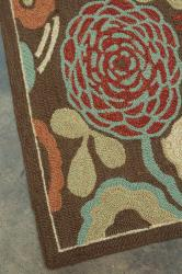 Hand-hooked Freya Brown Rug (7' x 9') - Thumbnail 2