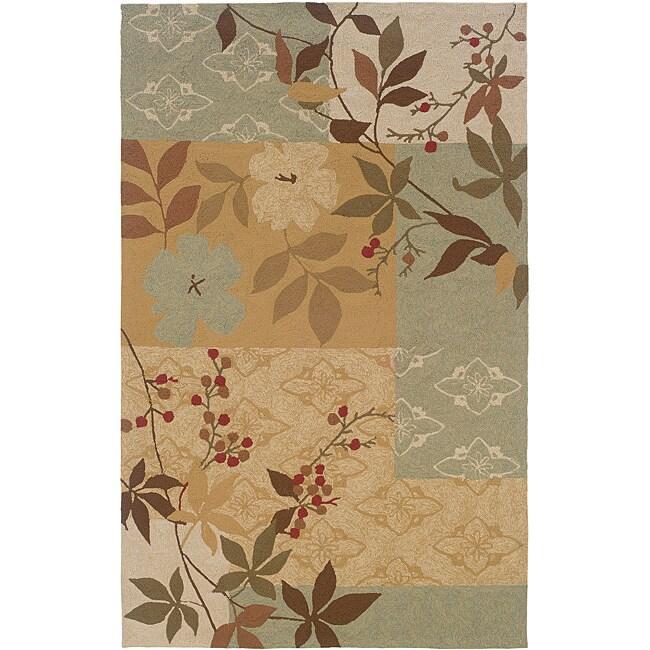 Orleans Beige/ Brown Floral Rug (7'9 Round)