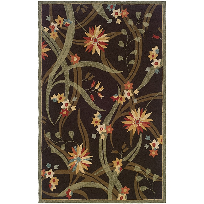Orleans Brown/ Green Floral Rug (7'9 x 9'9)