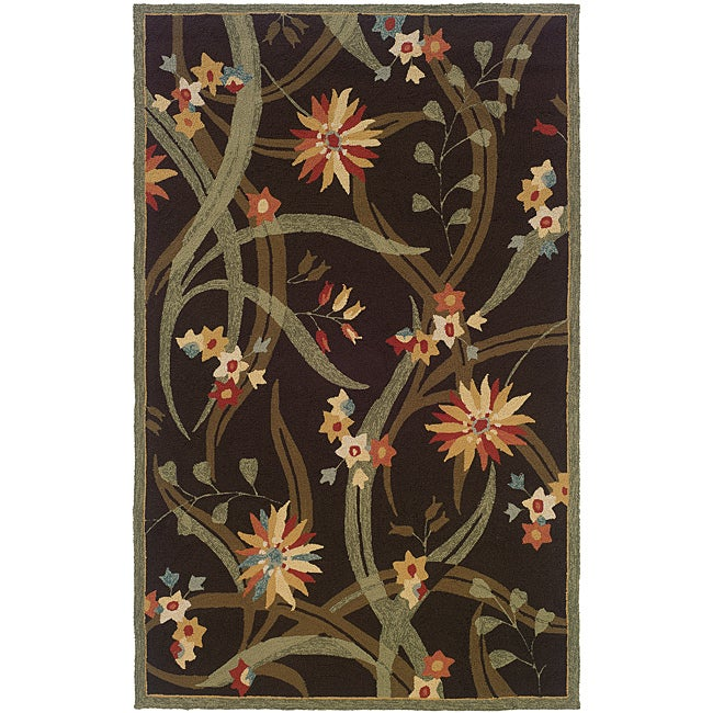 Orleans Brown/ Green Floral Rug (2' x 6')