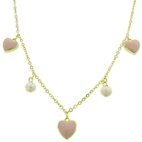 Molly and Emma 18k Gold Overlay Pearl and Pink Enamel Heart Dangle Necklace