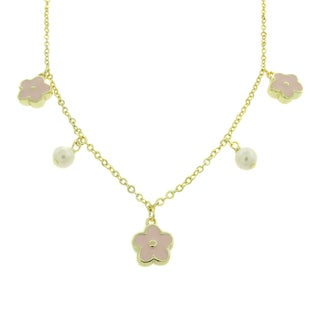 Molly and Emma 18k Gold Overlay Pearl and Pink Enamel Flower Dangle Necklace