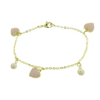Molly and Emma Gold Overlay Pearl and Pink Enamel Charm Bracelet (3 options available)
