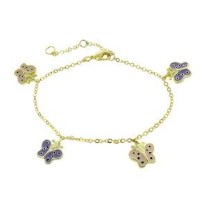 Molly and Emma 18-karat Gold-overlay Enamel Butterflies Charm Bracelet for Children