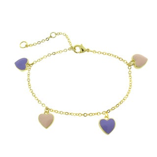 Molly and Emma Children's 18k Gold Overlay Enamel Hearts Charm Bracelet