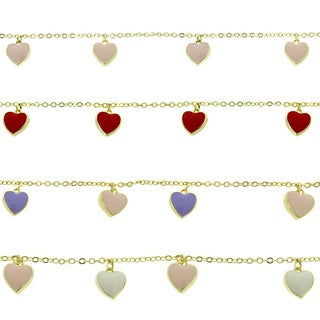 Molly and Emma Children's 18k Gold Overlay Enamel Hearts Charm Bracelet