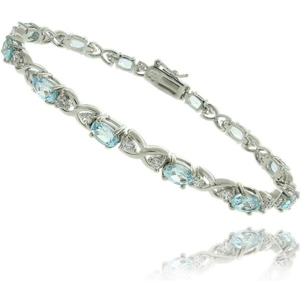 Dolce Giavonna Sterling Silver Blue Topaz X and O Bracelet