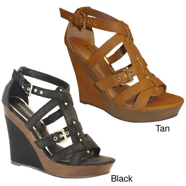 Bucco Women's 'Melody' Faux Leather Wedge Sandals