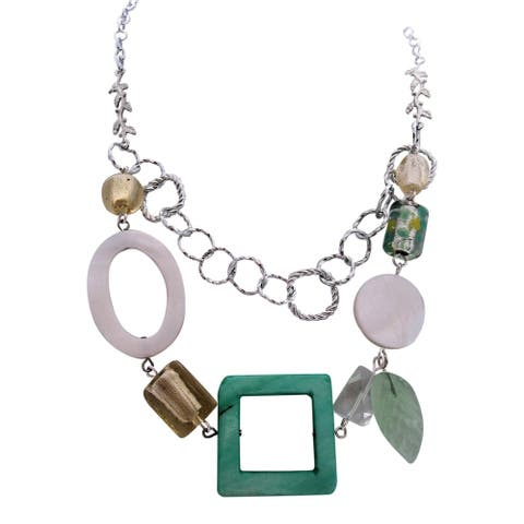 Handmade Mother of Pearl Lampwork Necklace