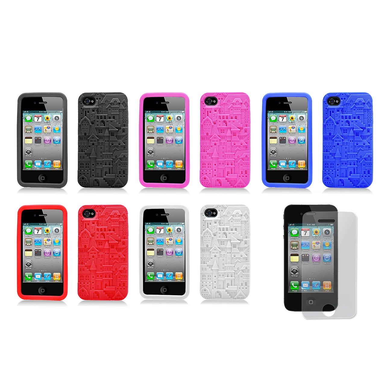 Apple iPhone 4/4S Castle Design Silicone Skin Case and Screen Protector - Thumbnail 0