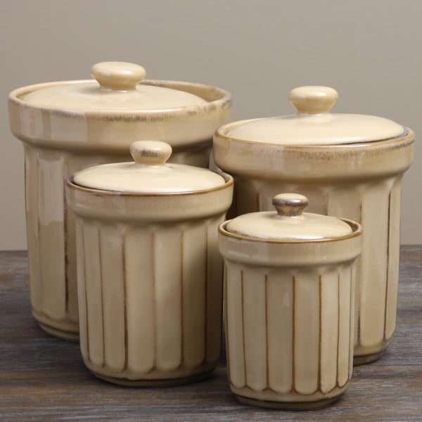 Sango Society Beige Ribbed Canisters (Set of 4)