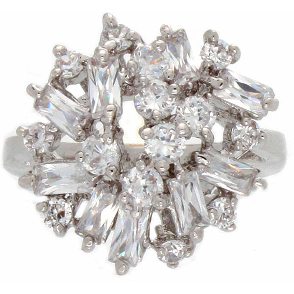 NEXTE Jewelry Silvertone 'Ultimate Rounds and Baguettes' CZ Ring