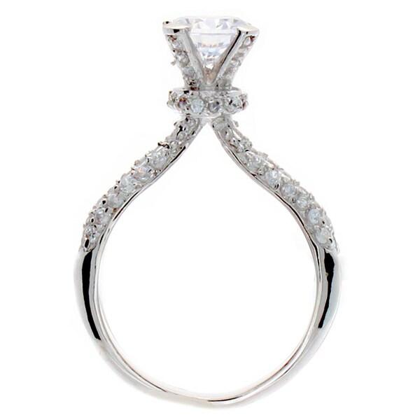 NEXTE Jewelry Silvertone Cubic Zirconia Pinnacle Ring