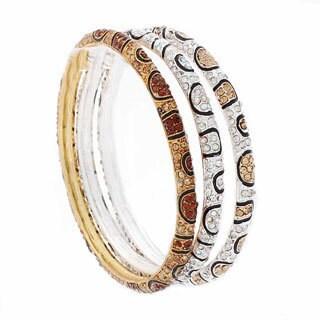 Nexte Jewelry Stone Encrusted Leopard Skin Pattern Bracelets (Set of 3)