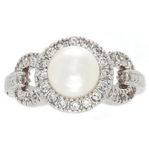 Nexte Jewelry Fresh Water Pearl Center Stone with White Accent Stones Ring