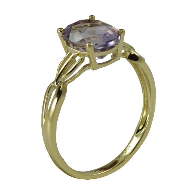 10k Yellow Gold Oval-cut Amethyst Ring
