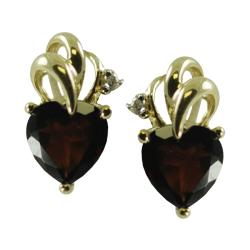 Gems For You 10k Gold Garnet and Diamond Accent Heart Stud Earrings