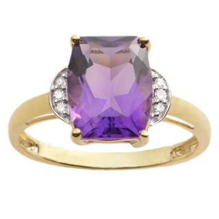 10k Yellow Gold 1/3ct Diamond and Amethyst Ring (H-I, I1-I2)