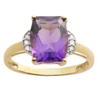 10k Yellow Gold 1/3ct Diamond and Amethyst Ring (H-I, I1-I2)