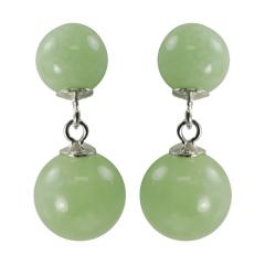 Gems For You Sterling Silver Green Jade Drop Earrings