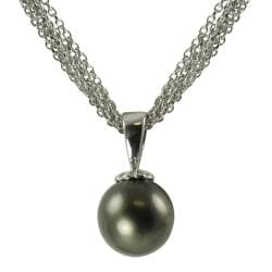 Pearls For You 14k White Gold Tahitian Pearl Drop Necklace (10-11 mm)