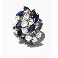 California Girl Jewelry Pre-owned 18k White Gold Sapphire and 1 1/10ct TDW Diamond 'Waterfall' Ring (F-G, VS1-VS2)