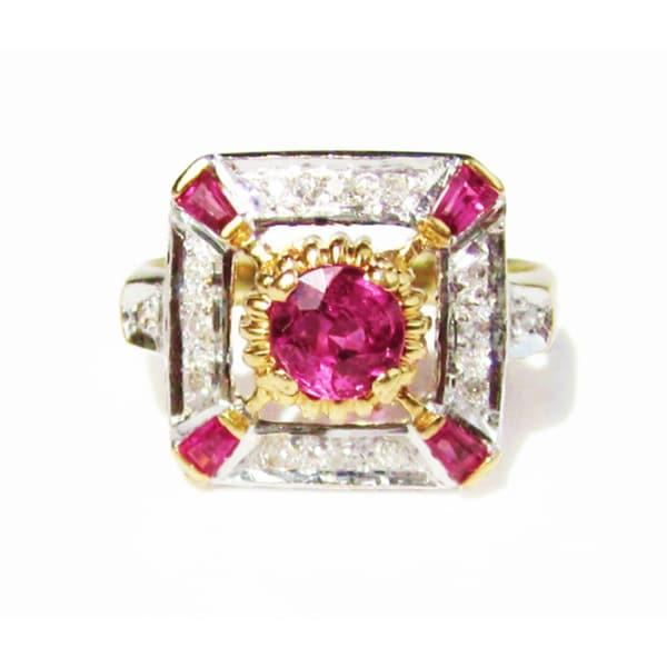 California Girl Jewelry 18k Gold Burmese Ruby and 1/6ct TDW Diamond Edwardian Ring (F-G, VS1-VS2)