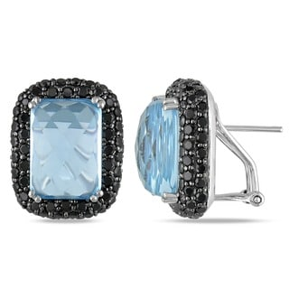 Miadora Signature Collection 14k White Gold Blue Topaz and 3 1/2ct TDW Black Diamond Earrings