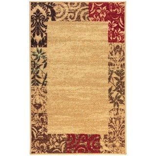 Shop Well Woven Border Formal Beige Ivory Red And Green