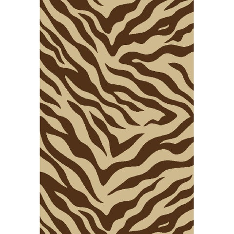 """Well Woven Zebra Brown Non-skid Area Rug - 3'3"""" x 5'3"""""""