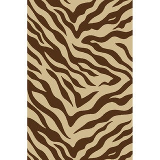 Zebra Brown Non-skid Rug (3'3 x 5'3)