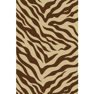 Zebra Brown Non-skid Rug (3'3 x 5'3)