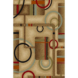 Metro Geometric Natural Non-skid Rug (5' x 7')