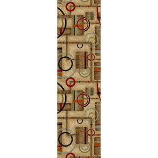Well Woven Metro Geometric Natural Non-skid Runner Rug - 2' x 6'10""