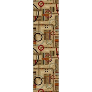 Metro Geometric Natural Non-skid Rug (2' x 6'10)