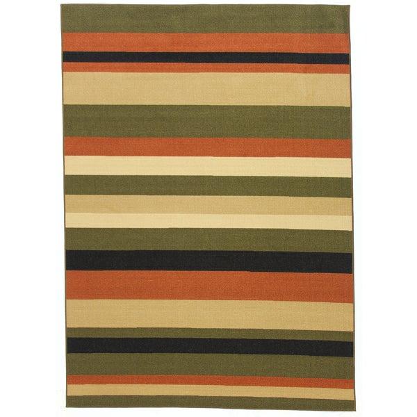 Nylon Green Stripe Area Rug (5' x 7')