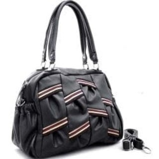 Dasein Pleated Multi-Striped Shoulder Bag