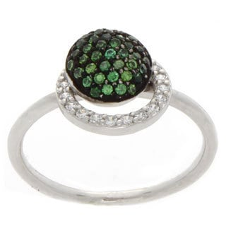 NEXTE Jewelry Silvertone Green and Clear Cubic Zirconia Ring