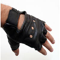 Defender Black Small Leather Fingerless Gloves