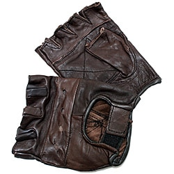 Defender Brown Extra-large Leather Fingerless Gloves with Hook and Loop Strap - Thumbnail 0