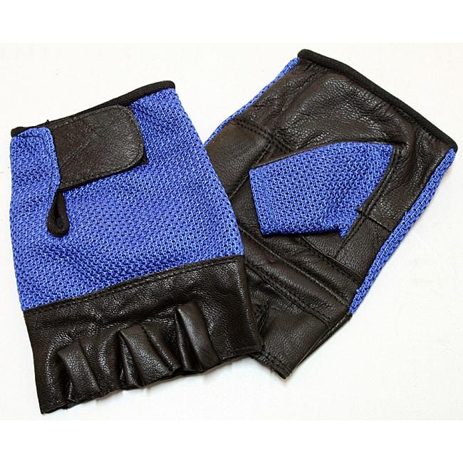 Defender Blue Small Leather Fingerless Gloves