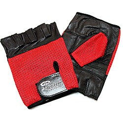 Defender Red Large Leather Fingerless Gloves