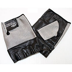 Defender Silver Large Leather Fingerless Gloves