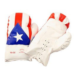 Defender 16-ounce Boxing Gloves with Puerto Rican Flag Design