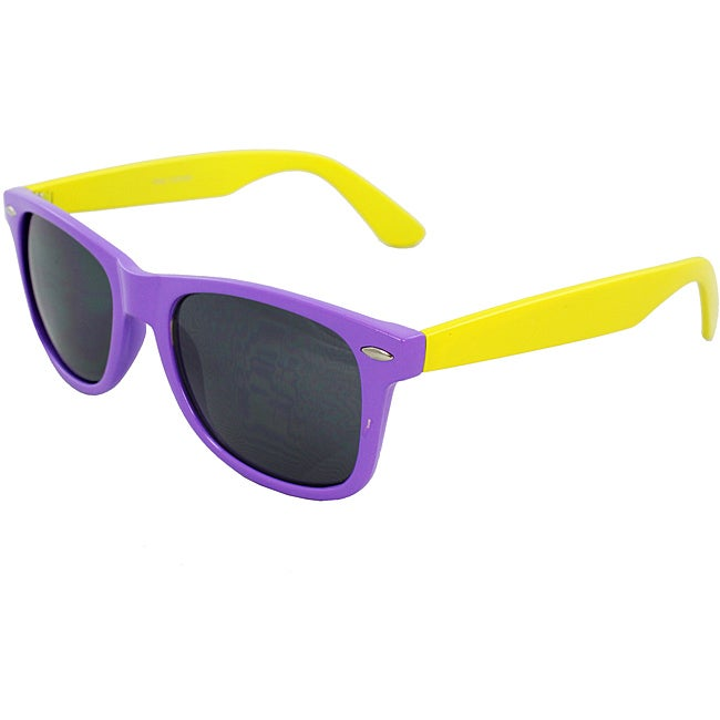 Unisex Purple and Yellow Color-block Sunglasses
