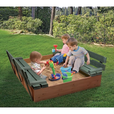 Badger Basket Covered Convertible Cedar Sandbox with Two Bench Seats - 46.5 inches L x 46.5 inches W x 9.5 inches H