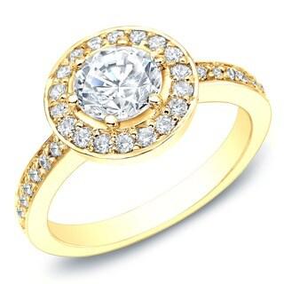 Auriya 14k Gold 2/5ct TDW Diamond Halo Engagement Ring (G-H, I1-I2)