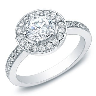 Auriya 14k Gold 2/5ct TDW Diamond Halo Engagement Ring